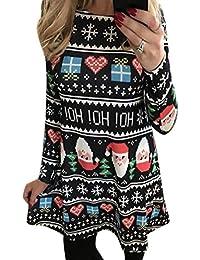 QIYUN.Z Vestido Para Mujer Navidad Santa Claus Fiesta Vestido De Swing
