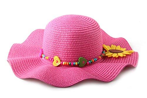 Rosa Kinder-sonnenhut (Dantiya Sonnenhut Kinder Mädchen Große Krempe Mit Einer Sonnenblumen Sun Hats For Girls 5 Farben (Rosa))