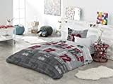 Textilhome Funda Nórdica Estampada PEYTON - Cama 105cm. Color Unico + Funda de cojín de 60x60cm.