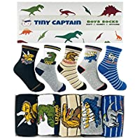 Tiny Captain Boys Socks Dinosaur Best Gift For 4-7 Year Old Boy Cotton Ankle Athletic Child Crew Sock (Blue and Grey)