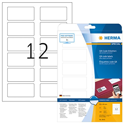 Herma 9643 - Pack de 300 etiquetas, 80 x 40 mm, color blanco