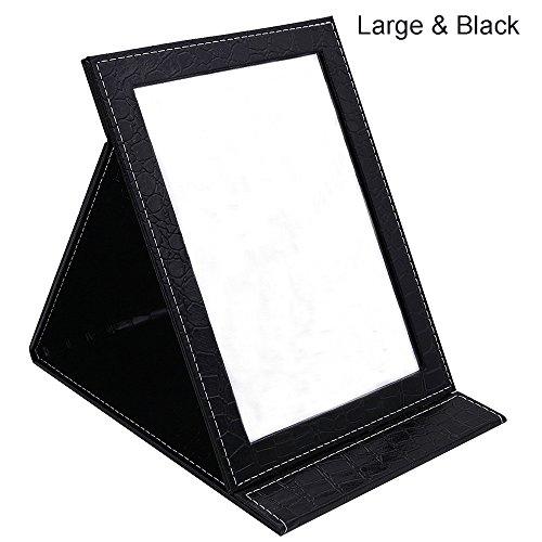 ToiM Tragbarer, Faltbarer Kosmetikspiegel mit Ständer, klappbar Spiegel Make-up Spiegel Kommode faltbar Spiegel Make-up Werkzeug und Zubehör, schwarz, Large -