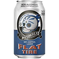 Pistonhead Non-Alcoholic Flat Tire Beer | Dry-Hopped with Mosaic Hops | 24 x 330ml cans | Refreshing & Crisp Lager with Citrus Notes | Alcohol Free Craft Beer