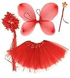 Tante Tina - Disfraz de Hadas Mariposa - Alas, Falda tutú, Varita mágica y Diadema - Rojo con Diadema