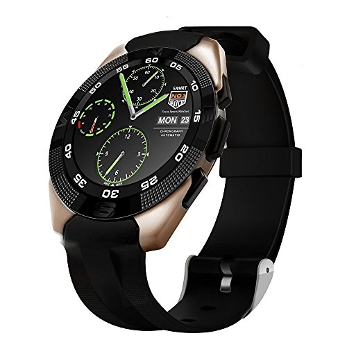 Bluetooth Wearable Smart Watch / Wrist Watch with Sim Card Support for High Quality Calling | Touch Screen | Facebook and WhatsApp | Multilanguage | Activity Trackers | Fitness Band Features | Smartwatch Phone with Camera TF SIM Card Slot | Video Recording | Phone Book | Compatible with All 2G 3G 4G Android Mobile Phones & IOS , For All Trending Models Like Samsung Vivo Sony Gionee Xiaomi Redmi MI Lenovo Motorola Oppo HTC Google Micromax Intex G5_Golden By SYL  available at amazon for Rs.10000