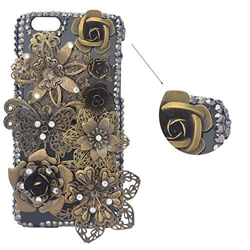 Preisvergleich Produktbild spritech (TM) 3D Handgefertigt Metallic Schwarz Back Case Schmetterling mit glänzend Sparkle Strass und Blumen Hard Caver Fall, Style-1, iPhone 4/4S
