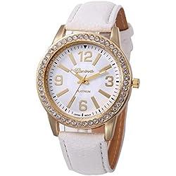 WINWINTOM Women Stainless Steel Analog Leather Quartz Wrist Watch White