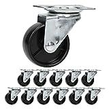 ECD Germany 12 Stück Möbelrollen Lenkrollen 50mm Set aus verzinktem Stahl und Kunststoff (Polypropylen PP) Schwarz Transportrolle Laufrolle Rollen