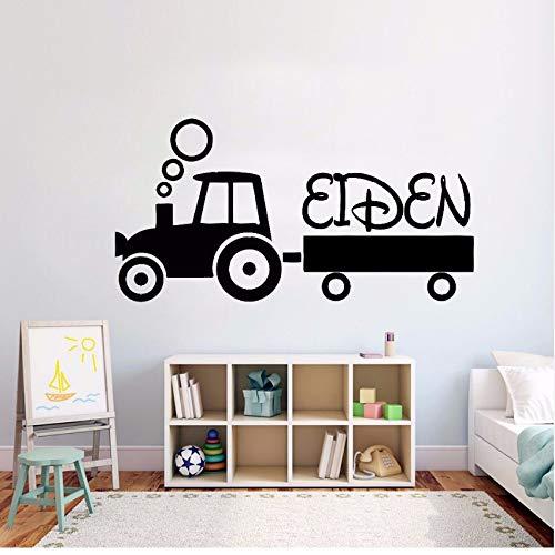 Gwgdjk Kinder Traktor Personalisierte Name Wandaufkleber Teenager Raumdekor Kundenspezifische Name Vinyl Wandtattoo Design Traktor Vinyl Kunst