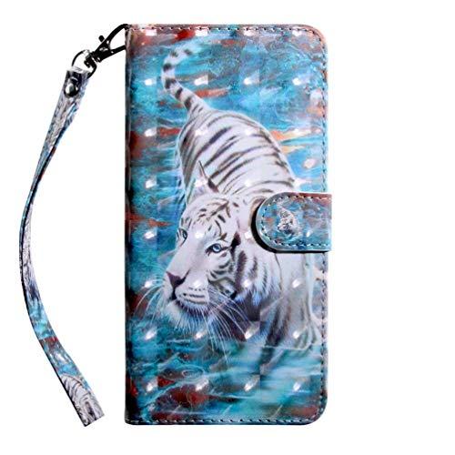 Preisvergleich Produktbild Hnzxy Kompatibel mit Huawei P30 Lite Hülle Handyhülle 3D Luxus Muster Schutzhülle PU Leder Hülle Brieftasche Flip Case Bookstyle Wallet Tasche Case Magnet Kartenfach für Huawei P30 Lite, Weiß Tiger