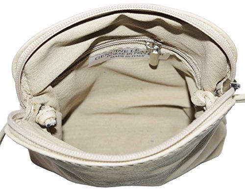 Vera pelle morbida italiana, attraversare il corpo piccolo / Micro o borsa a tracolla.Fornita nella pratica custodia protettiva marca. Beige