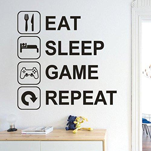 Wandtattoo Kinderzimmer, erthome Text Wandaufkleber Wohnzimmer Für Mädchen Kinderzimmer Aufkleber Wandsticker (Eat Sleep Game Repeat)