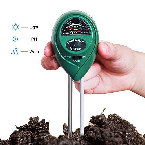 Boden PH-Messgerät, 3in1Erde Feuchtigkeit Messgerät mit Licht, pH & Säure Meter pflanzenbodengrund Tester Kits für den Garten-Landwirtschaft