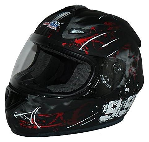 Protectwear Casque moto intégral, noir / rouge, Conception 99, FS-801-99R ,Taille: M