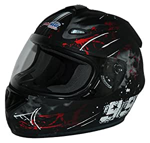 Protectwear Casque moto intégral, noir / rouge, Conception 99, FS-801-99R ,Taille: S
