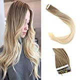 """Sunny Dip Dyed Highlight Rubia Extensiones Adhesivas Pelo Natural 20pcs/50g Balayage Tape in Extensiones Cabello Humano 24""""/60cm"""