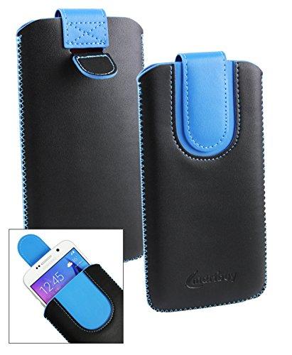 Emartbuyu00ae Schwarz/Blau PU Leder Slide in Hülle Tasche Sleeve Halter (Größe LM4) Mit Zuglasche Mechanismus Geeignet Für Creev Mark V Plus 4G LTE Smartphone 5.5 Zoll