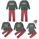 Weihnachten Familie Pyjamas Outfit Schlafanzug Nachtwäsche Damen Herren Baby Säugling Family Kleidung Zuhause Matching Set Xmas, 3PCS Brief Strampler + Hosen + Hut Familie Set(Mom,Small)