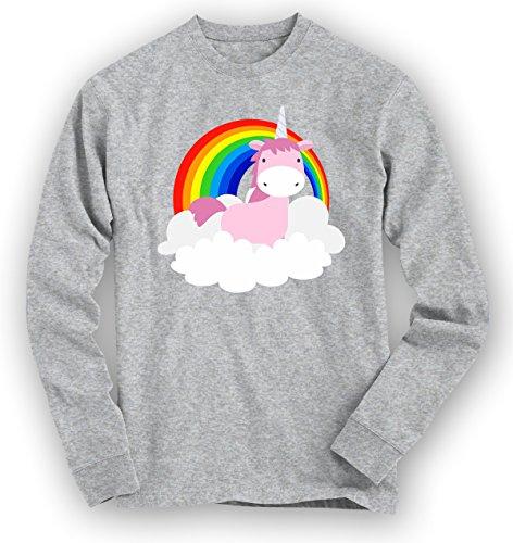 Einhorn Regenbogen Premium Sweatshirt | Unicorn | Magie | Rainbow | Unisex | Kapuzenpullover © Shirt Happenz Graumeliert