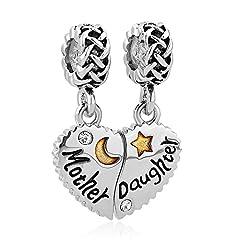 Idea Regalo - Uniqueen Mother Daughter Son Heart Love charm pendente set per Pandora/Troll/Chamilia charm, rame, cod. DPC_AM21