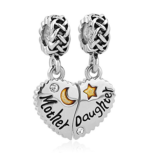 Uniqueen mother daughter son heart love charm pendente set per pandora/troll/chamilia charm e rame, cod. dpc_am21