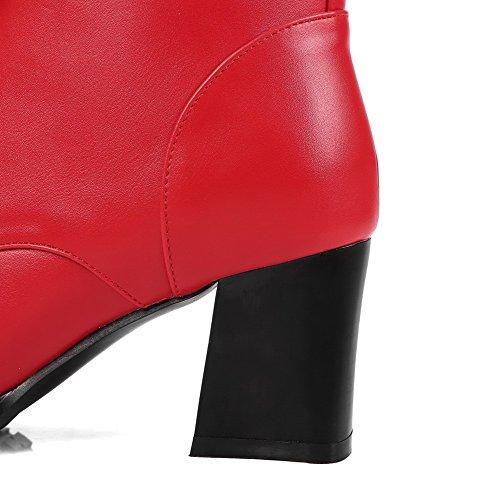 Rein Damen Aalardom Mittler Material Schnüren Stiefel Niedrig Absatz Weiches spitze Rot 0STqdwS