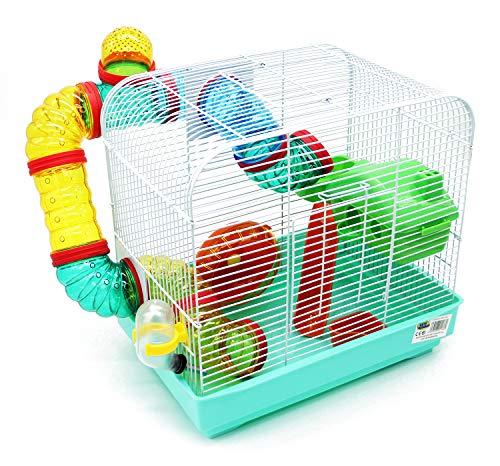 BPS Hamsterkäfig für Hamster, Größe XL, mit Futterspender und Rad und speziellen Tunnel, Farbe Wird zufällig, 33 x 23,5 x 33 cm BPS-1176