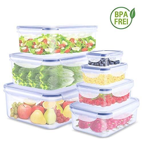 Argus Le Stapelbare Vorratsdosen Sets Luftdicht klick-it Frischhaltedosen mit Deckel Lebensmittel Lunchbox BPA frei Plastik Vorratsbehälter für Mikrowelle, Gefrierschrank und Küche (7 Stücke)
