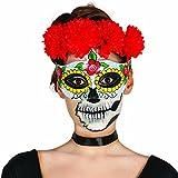 Amakando Máscara Mexicana de Muertos Halloween Antifaz Sugar Skull Motivo Mujer Careta Día de los Muertos Rostro Mexicano Noche de Brujas Media mascarilla La Catrina Cara Calavera