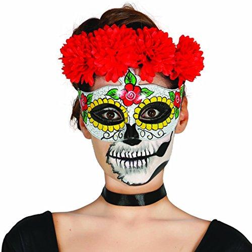 Mexikanische Totenmaske Augenmaske Sugar Skull Motiv Frau Todesmaske Tag der Toten La Catrina Halbmaske Halloween Mexican Skull Dia de los Muertos Totenkopfmaske Calavera (Tag Der Toten Frau Maske)