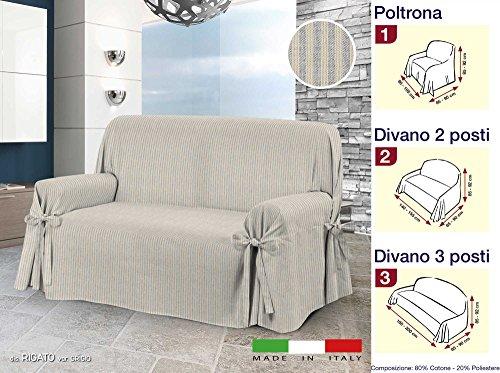 Centesimo Web Shop COPRIDIVANO Laccetti in 3 Misure E 2 Colori Tessuto Jacquard Tinto Filo A Righe Copri Divano - Due posti Grigio