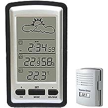 """megadream® Multifunción 4""""LCD Wireless Estación meteorológica termómetro de interior y exterior con higrómetro digital (& Barómetro y reloj despertador digital calendario & Electronic & Remote Sensor"""