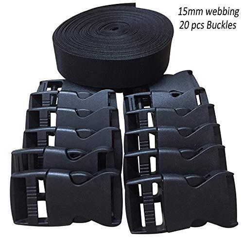 Length Adjuster /& Cam Buckle Benristraps 25mm Webbing Strap Black, 2 metres