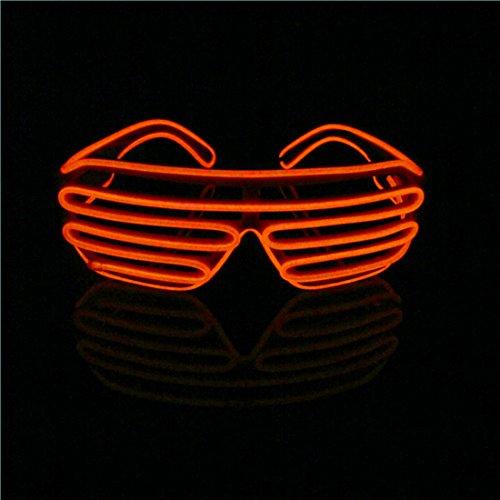 Lerway EL Draht Neon Wire Leuchtbrille LED Brillen mit Batterie Box für Party Club,Konzert Rave, Neujahr Geschenk (Rot, Schwarz Rahmen)