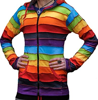 Shopoholic Fashion Long Pixie Hooded Rainbow stripe colourful jacket,Boho Hippy hoodie