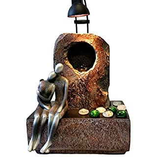 Zimmerbrunnen Feng Shui in Polyresin mit Scheinwerfer LOVERS