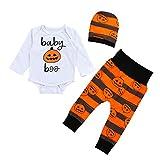 Toamen Bébé Filles Garçons Enfants Halloween Citrouille imprimées T-shirt à manches longues + Pantalons + Chapeau (12 Mois, Blanc)