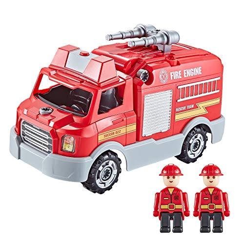 Think Gizmos Camion Pompieri da Costruire con Luci e Suoni - Camion Pompieri Giocattolo da 32 Pezzi - Include Viti e Trapano Elettrico - Camion Giocattoli da Costruire - TG807