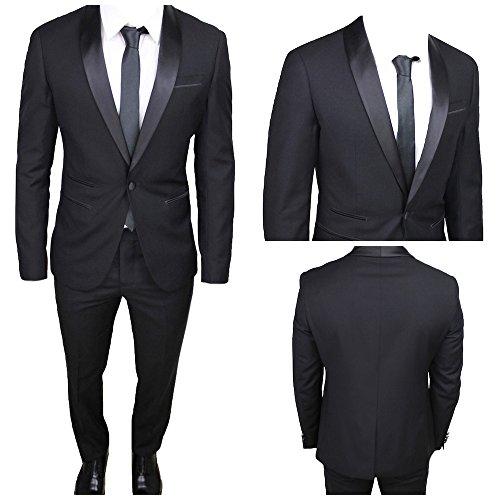 Moda classica abito uomo nero super slim giacca e pantalone smoking vestito elegante cerimonia comunione (calza stretto 2 taglie in meno) (58)