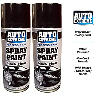 Professional Auto Extreme Black Gloss Spray Paint Petrol Resistant Non Crack Formula with Unique Tamper Proof Nozzle 400ml (2)