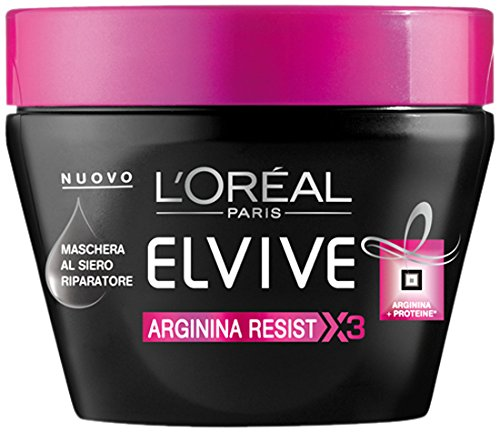 L'Oréal Paris Elvive Arginina Resist X3 Maschera Rinforzante per Capelli Fragili, 300 ml