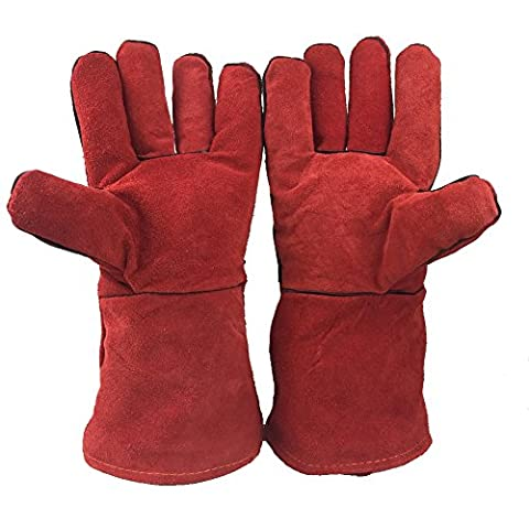 Yosang Hitzebeständige Rindsleder-Handschuh WIG Arbeitshandschuhe Rindslederhandschuhe-BBQ, Grill, Kamin, Holz Burning
