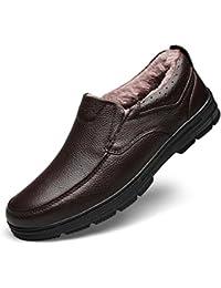 SWNX Zapatos de Hombre de Cuero Genuino de Invierno Goma Casual de Mediana Edad Padre Anciano