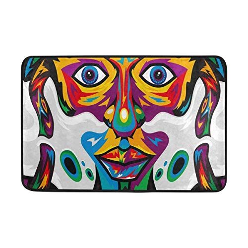 Bunte Hipster Kunst Malerei Muster Fußmatte Indoor Outdoor Matte Rutschfeste Polyester für Tür Küche Schlafzimmer Garten, 15,7''x23,6 ''