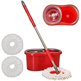 CrazyGadget® 360° Floor Magic Spin Mop Bucket and Microfiber Rotating Dry Heads With