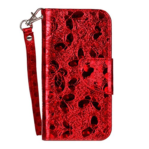 """MOONCASE iPhone 5c Flip Cover, [Butterfly Pattern] PU Cuir Étuis Case Built-in Support TPU Antidérapant Housse de Protection pour iPhone 5c 4.0"""" Hotpink Red"""