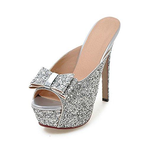 La signora della modaSandali tacco alto/paillettes fiocco pantofole/Sandali tacco alto D