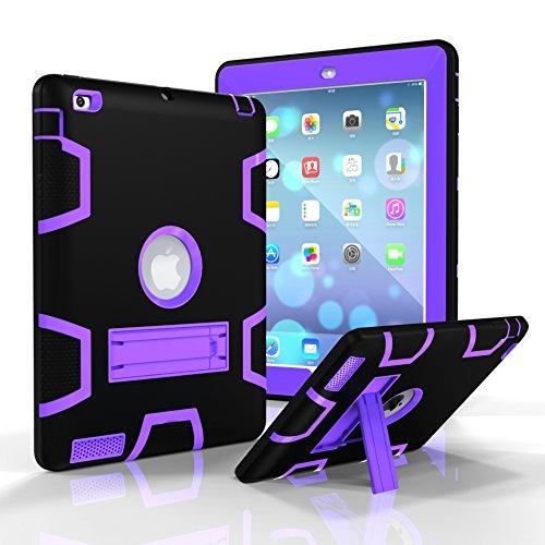 Schutzhülle für iPad 3, iPad 4Case, iPad 2Hülle, jeccy Dual Layer Robuste Slim Ganzkörper-Stoßfest Hybrid Heavy Duty Armor Defender Schutzhülle mit Ständer für Apple iPad 2/3/4 Schwarz/Violett Camera Armor Lens