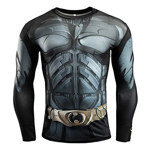 HOOLAZA Batman The Dark Knight Long Sleeve Herren Fitness Compression T Shirt Justice League Super Heroes Langarmshirt Herren komprimiertes T-Shirt L