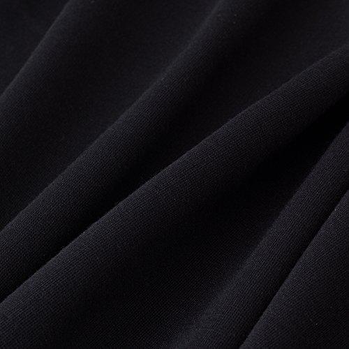 HOMEYEE Frauen elegante ärmellose Revers Hohe Taille schlanke Bodycon formale Retro Vintage Kleid B314(EU 38 = Size M,Schwarz) -
